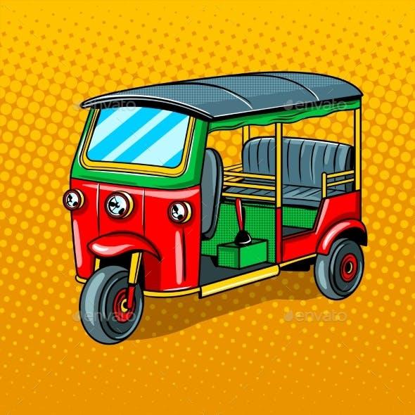 Auto Rickshaw Transport Pop Art Style Vector
