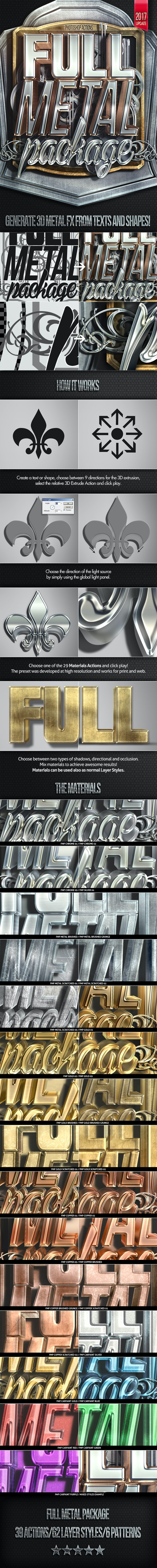 Full Metal Package 3D - Photoshop Actions - Text Effects Actions