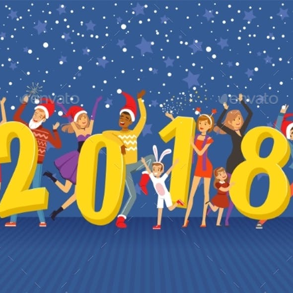 Happy New Year 2018 Party People Celebrating