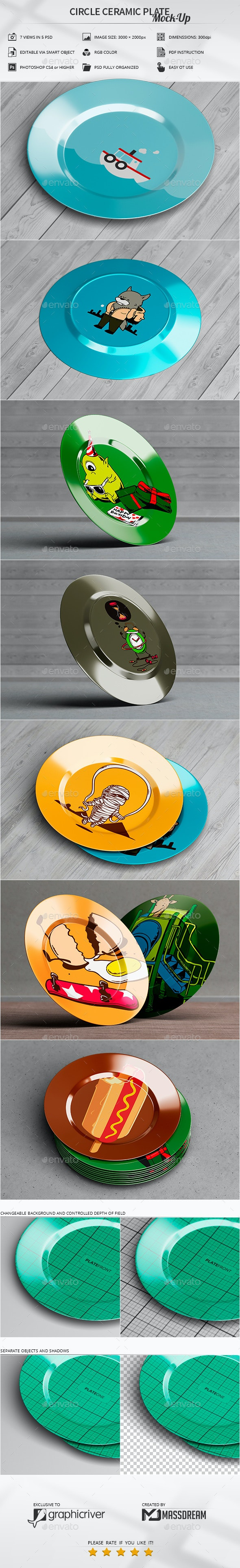 Circle Ceramic Plate Mock-Up - Miscellaneous Product Mock-Ups