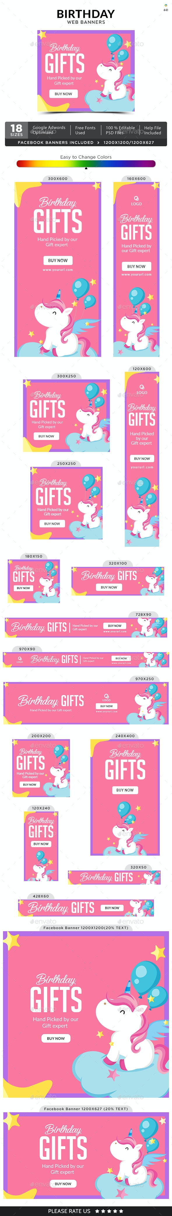 Birthday Banners - Banners & Ads Web Elements