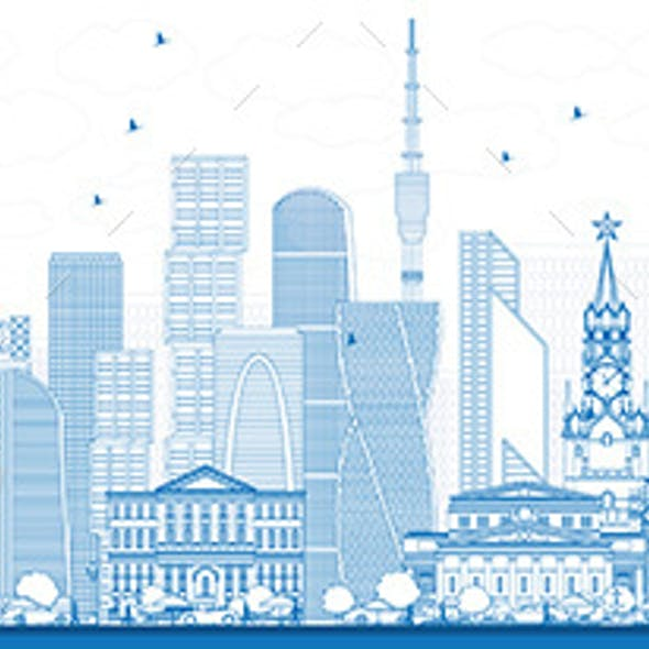 Outline Moscow Russia Skyline with Blue Buildings.