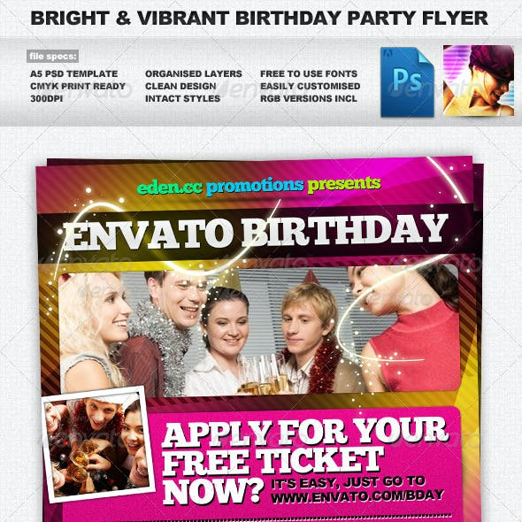 Bright, Vibrant & Energetic A5 Party Flyer
