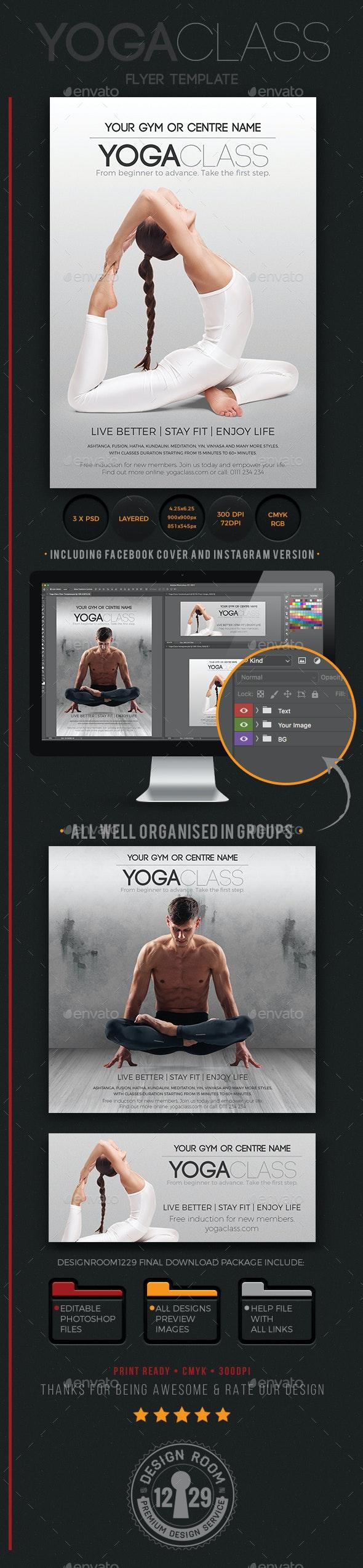 Yoga Class Flyer, Instagram & Facebook Templates - Sports Events