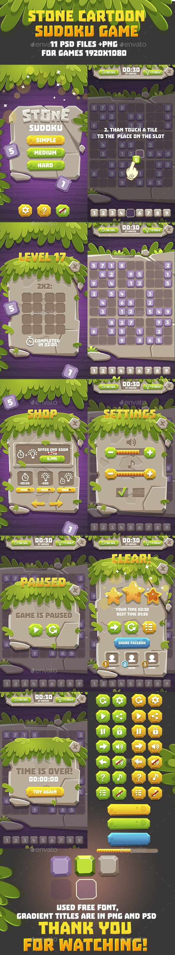Full Game Cartoon Puzzle Pack - Game Kits Game Assets