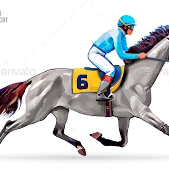Jockey on Horse. Champion. Horse Racing