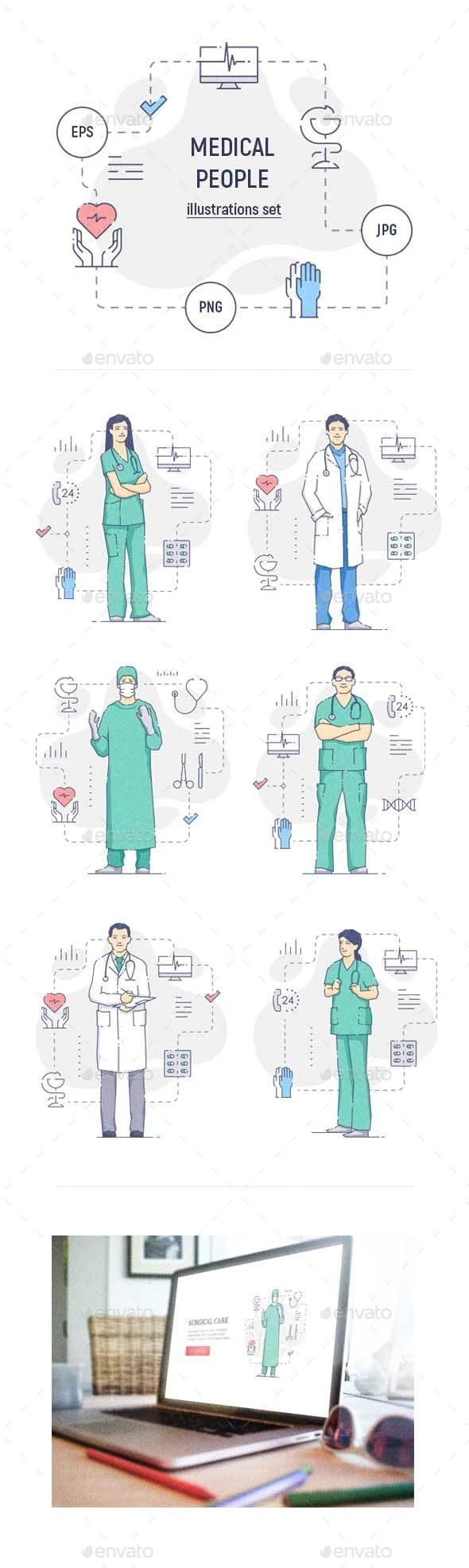 Medical People Illustration Set - People Characters