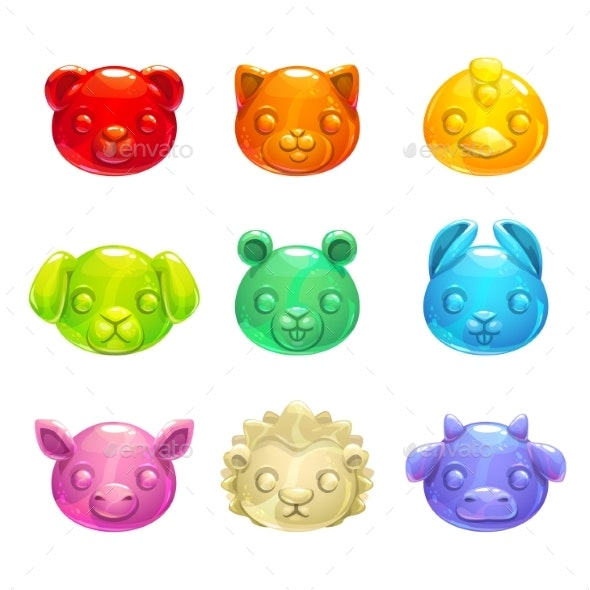 Jelly Animals Faces. - Animals Characters