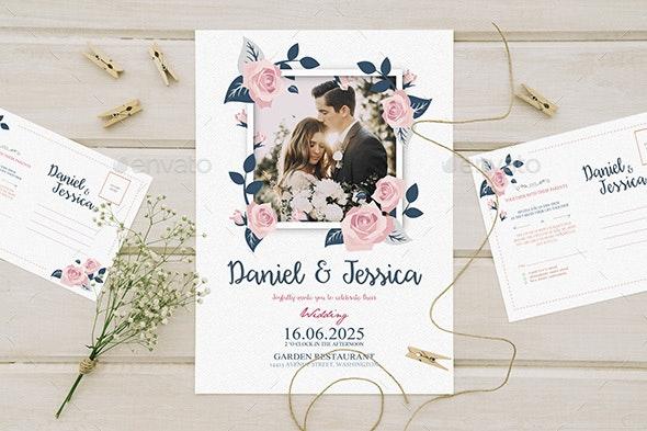 Floral Wedding Invitation - Wedding Greeting Cards