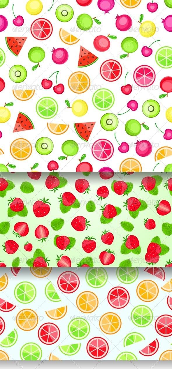 Seamless Pattern With Fruits - Patterns Decorative