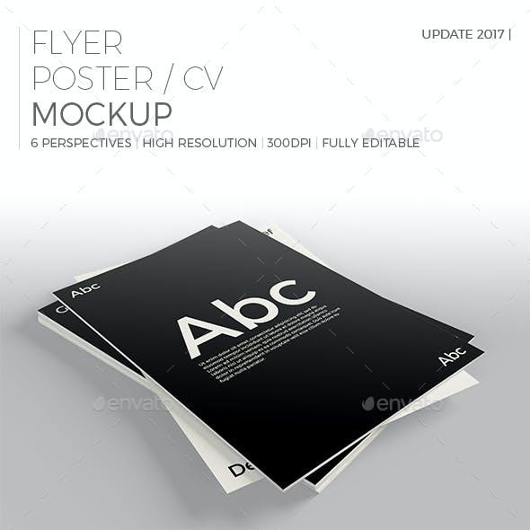 Realistic Flyer/Poster/CV Mockup 2
