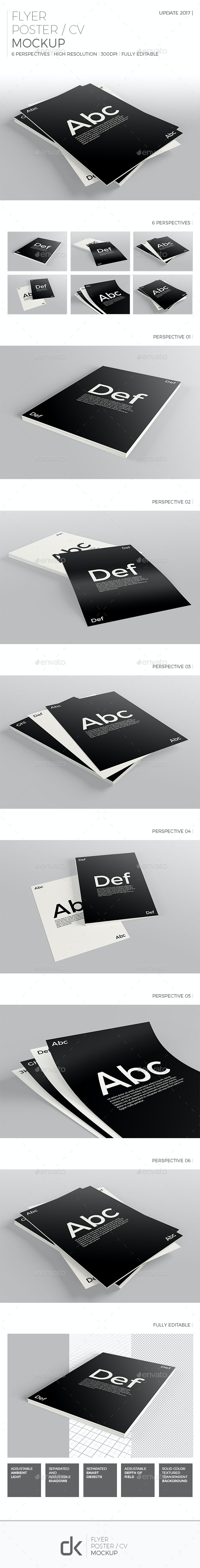 Realistic Flyer/Poster/CV Mockup 2 - Flyers Print