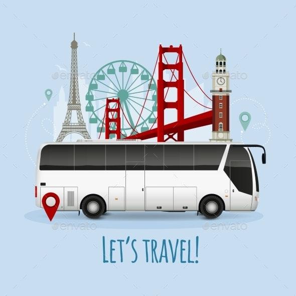 Realistic Touristic Bus Illustration - Miscellaneous Vectors