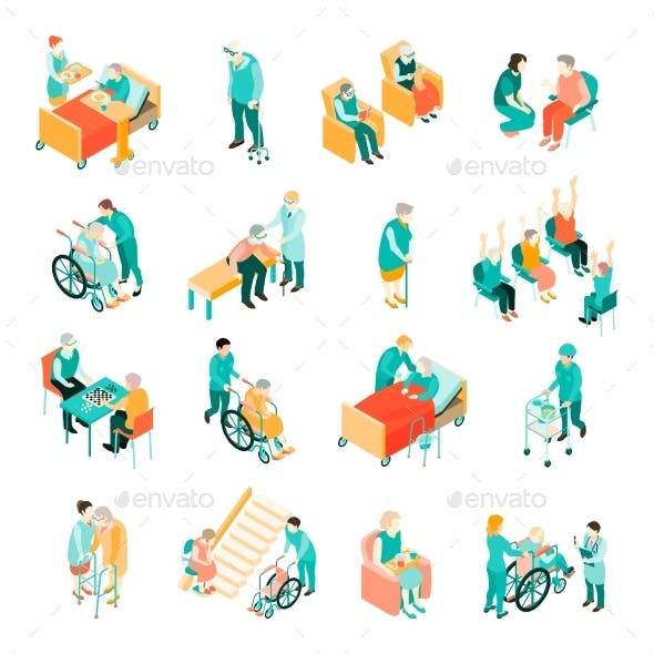 Elderly People Nursing Home Isometric Set