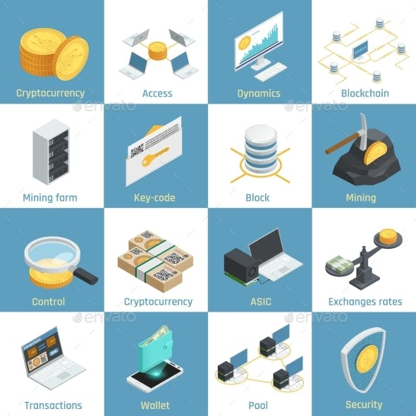 Cryptocurrency Isometric Icons