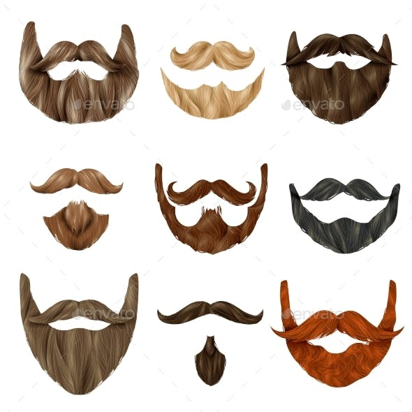 Realistic Beards and Mustache Set