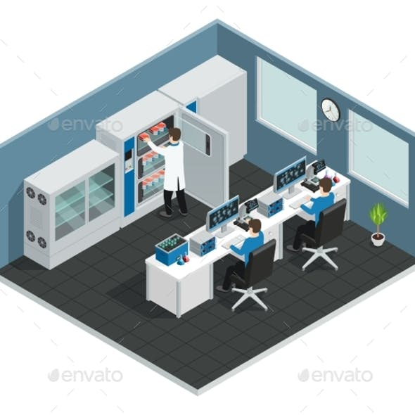 Scientific Laboratory Isometric Workplace