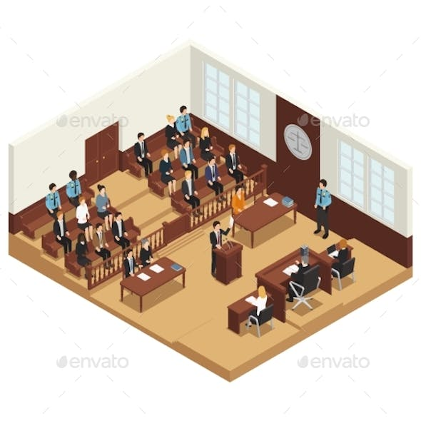 Law Justice Isometric Composition Poster