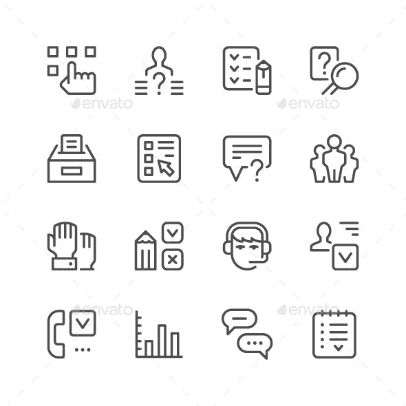 Set Line Icons of Survey