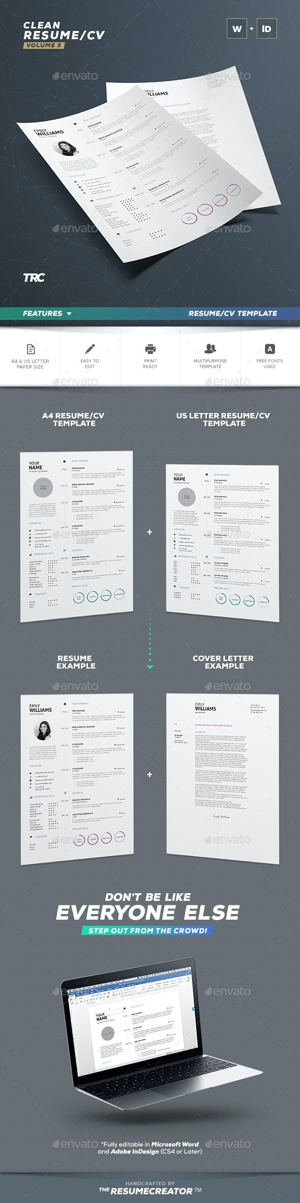 Clean Resume Vol. 3 - Resumes Stationery