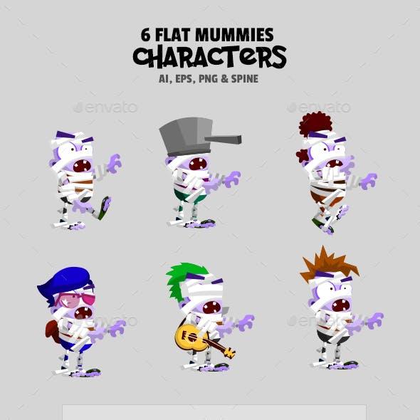 6 Flat Mummies