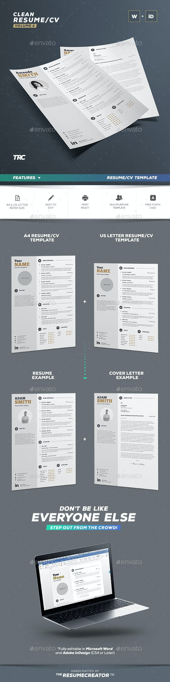 Clean Resume Vol. 4 - Resumes Stationery