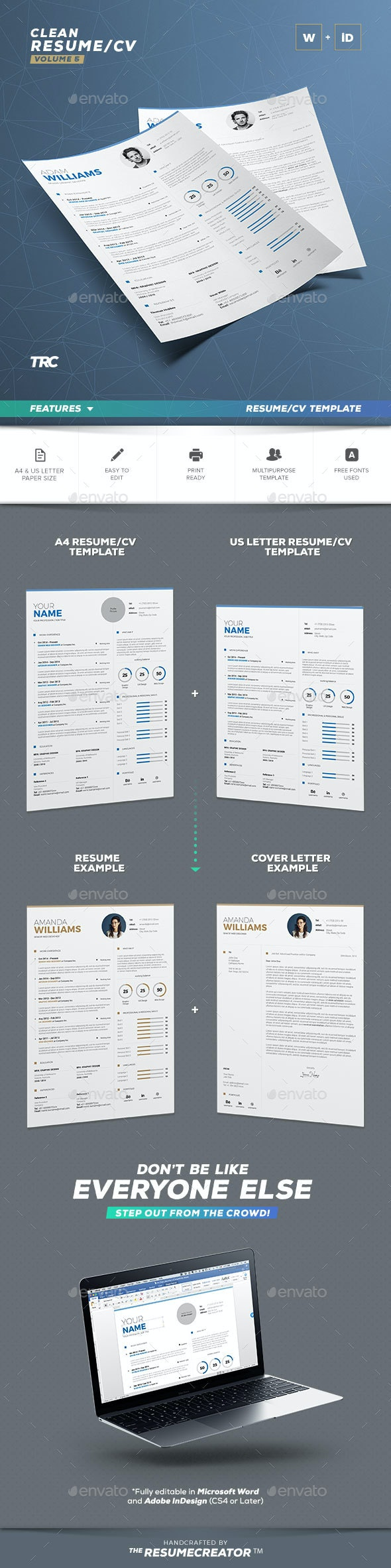 Clean Resume Vol. 5 - Resumes Stationery