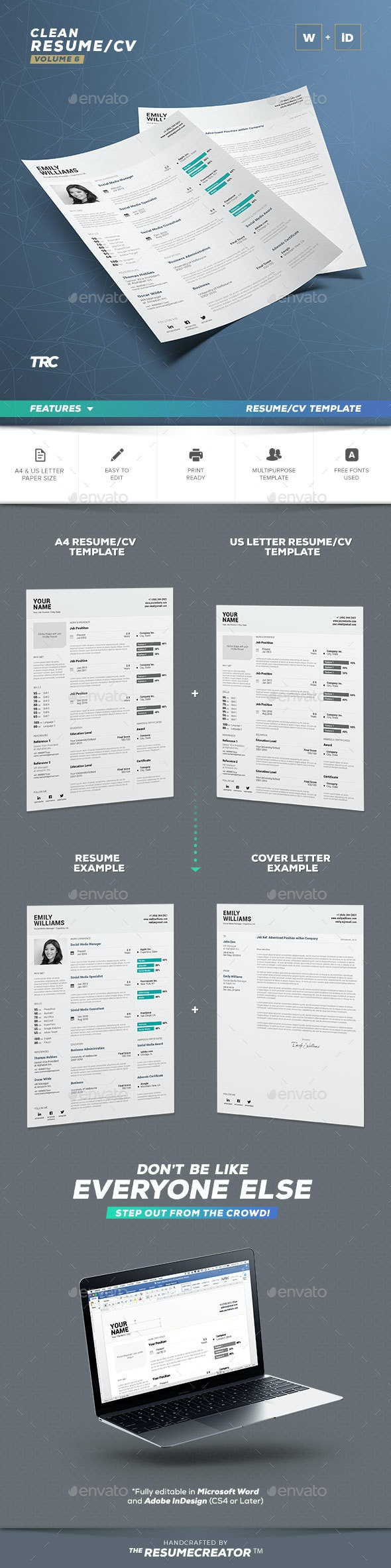 Clean Resume Vol. 6 - Resumes Stationery