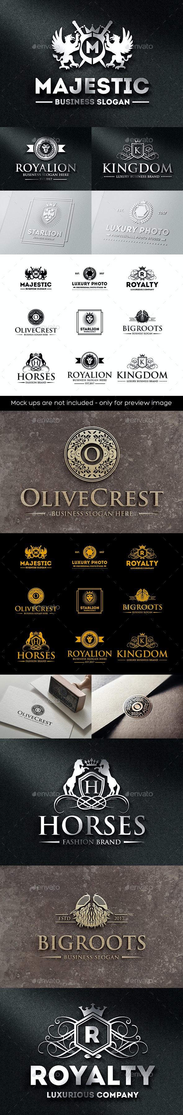 Luxury Heraldic Royal Crest Logo Badges - Badges & Stickers Web Elements