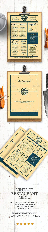 Vintage Restaurant Menu - Food Menus Print Templates