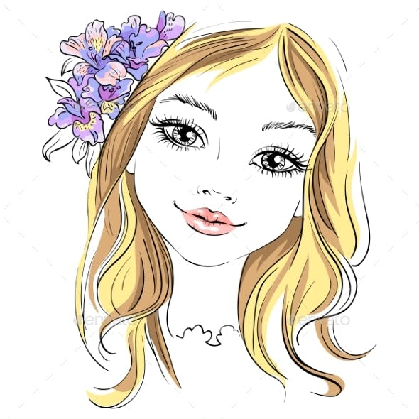 Vector Fashion Girl with Flower in Hair