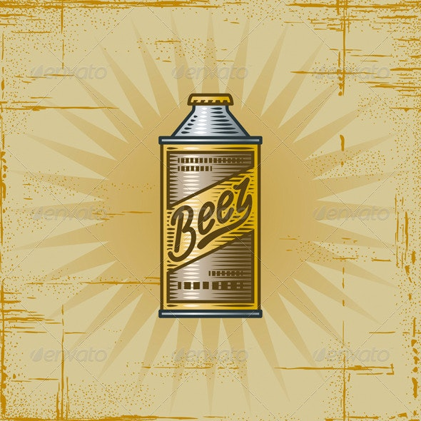 Retro Beer Can - Food Objects