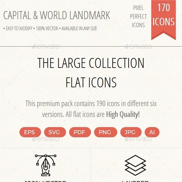 150+ Capital and World Landmarks thin line icons