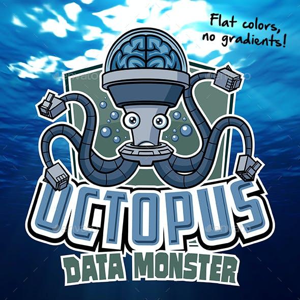 Octopus Data Monster Mascot