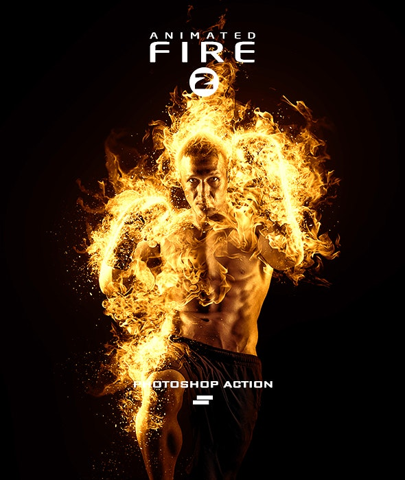 Gif Animated Fire 2 Photoshop Action - Photo Effects Actions