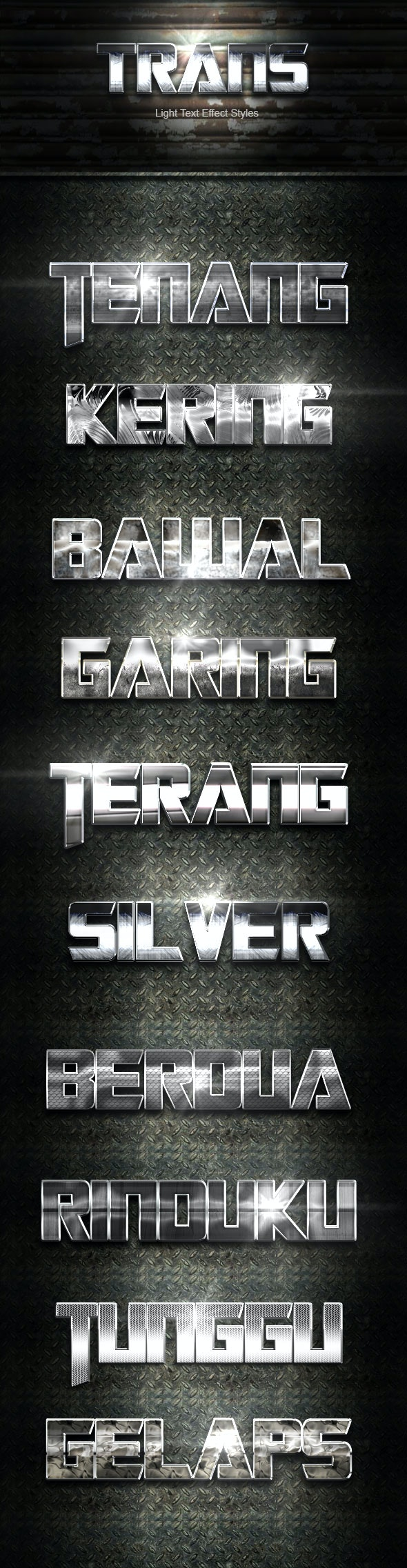 Trans Silver Text Effect V04 - Text Effects Actions