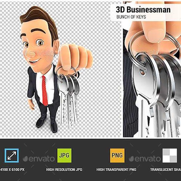 3D Businessman Holding a Bunch of Keys