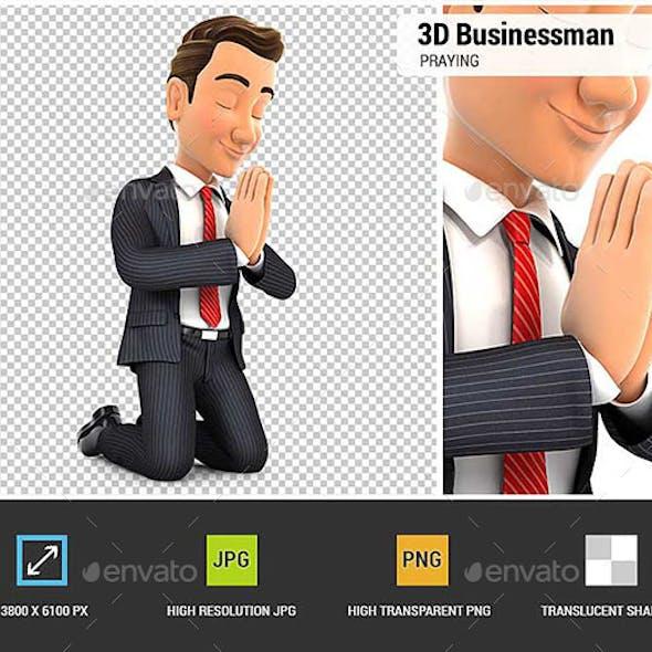 3D Businessman on his Knees Praying