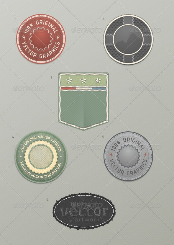 6 Realistic Textured Badges - Man-made Objects Objects