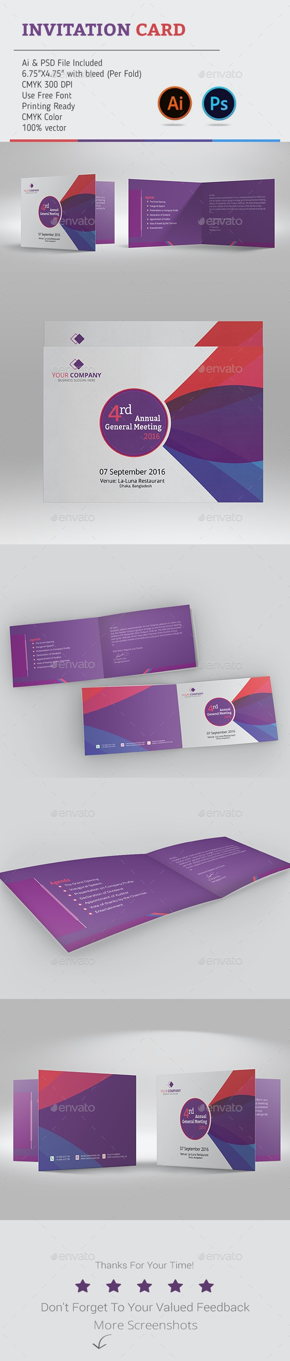 Corporate Annual Meeting Invitation Card - Invitations Cards & Invites