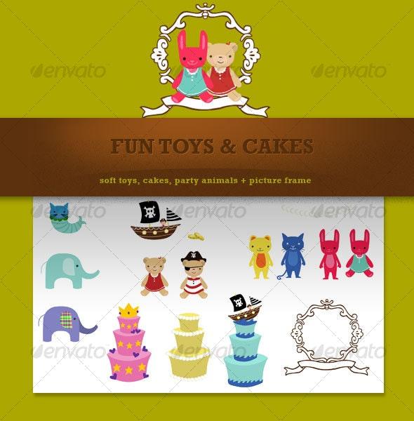 fun toys & cakes - Decorative Vectors