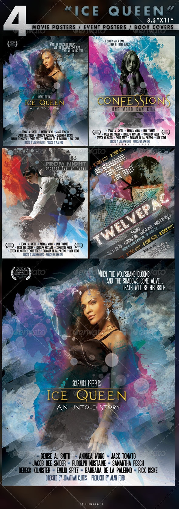 4 Poster Designs in 8.5x11 - Clubs & Parties Events