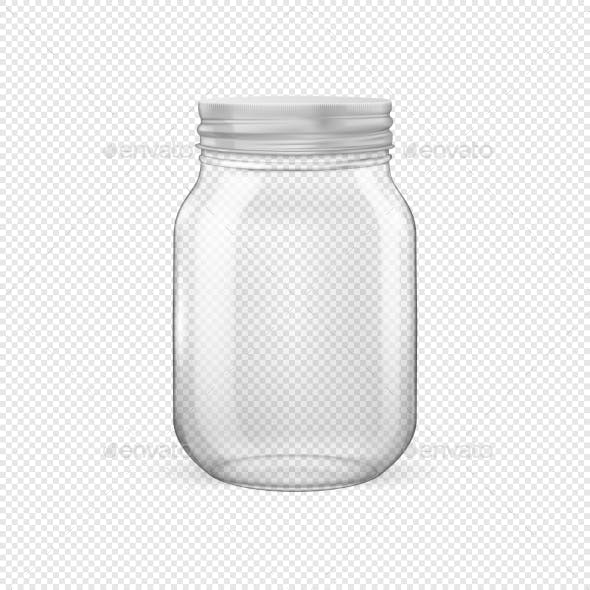Vector Realistic Empty Glass Jar for Canning