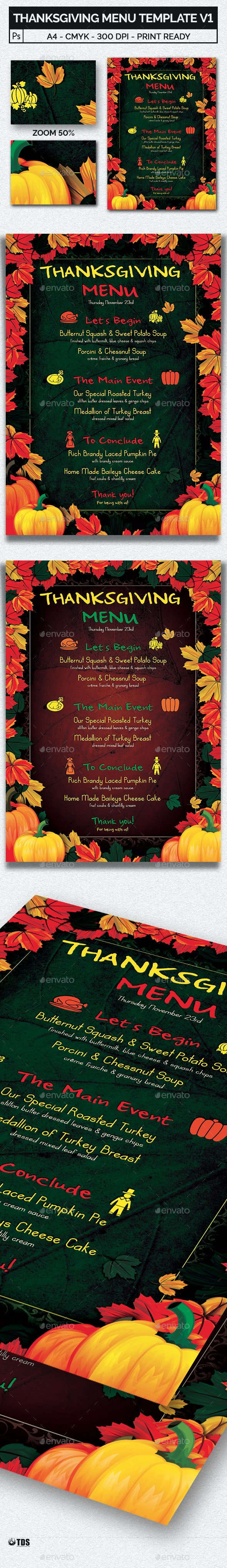 Thanksgiving Menu Template V1 - Restaurant Flyers