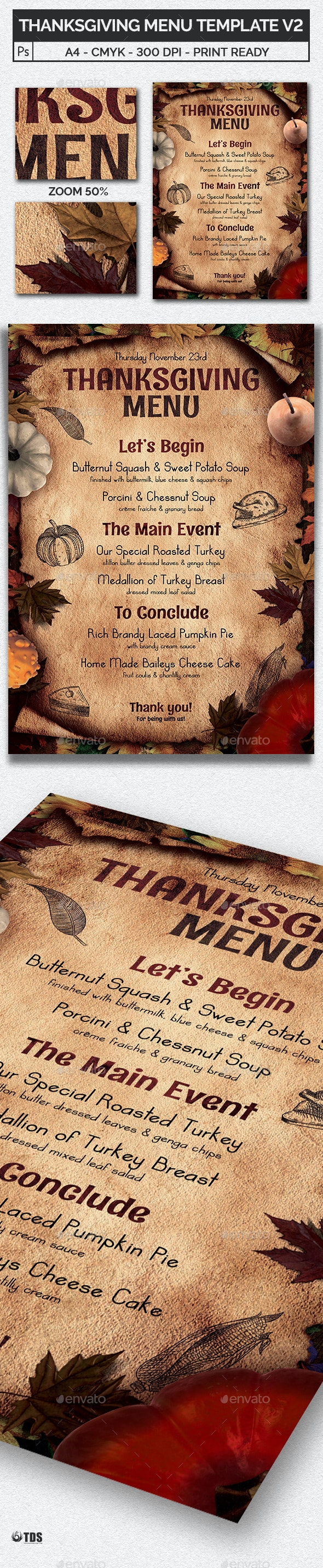 Thanksgiving Menu Template V2 - Restaurant Flyers