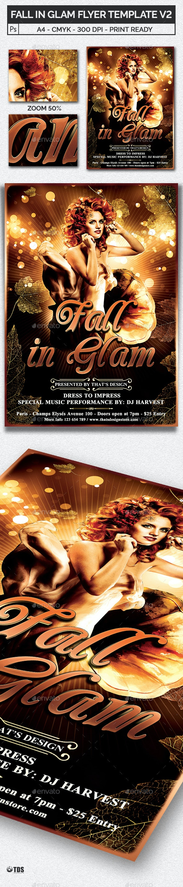 Fall in Glam Flyer Template V2 - Clubs & Parties Events