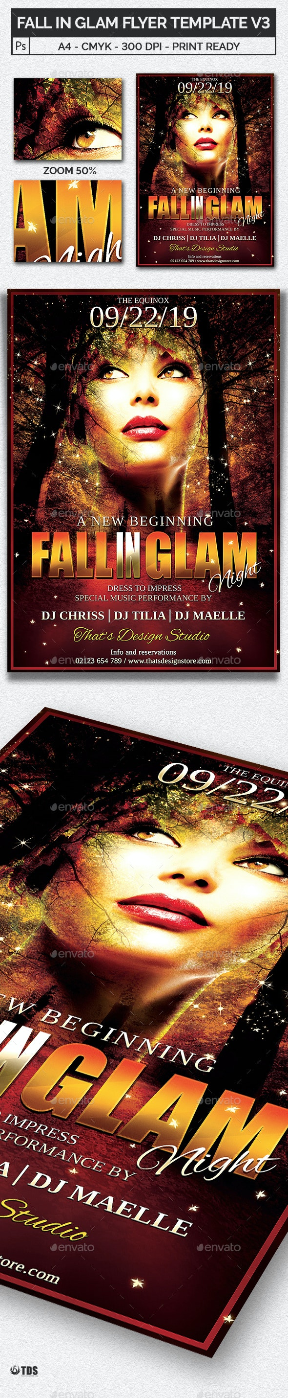 Fall in Glam Flyer Template V3 - Clubs & Parties Events