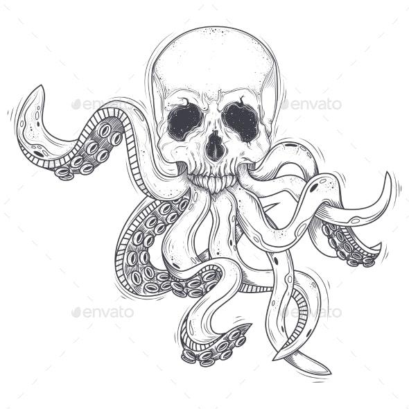 Vector Illustration of a Human Skull - Animals Characters