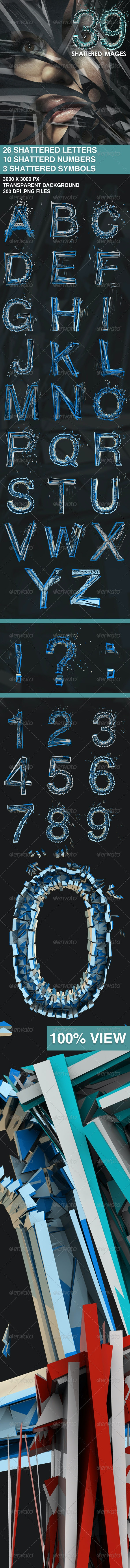 39 Isolated Shattered Letters - Text 3D Renders