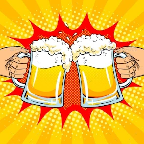 Hands with Mugs of Beer Pop Art Vector